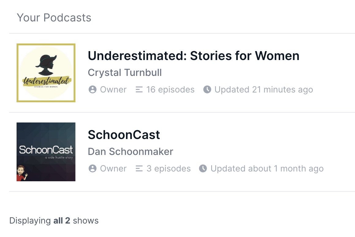 Schooncast and Underestimated podcasts