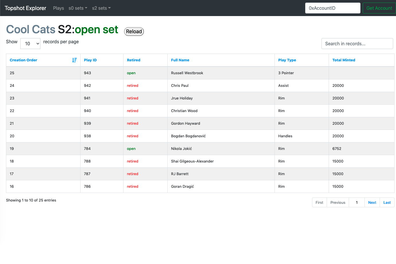 TopShot Explorer screenshot
